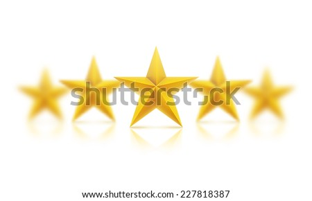 Vector illustration. Golden realistic stars with the effect of blurring, all star - individual objects.. - stock vector
