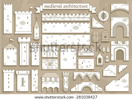 Vector illustration: graphic elements of the middle ages royal castle - design your own castle for your pattern or web-site  - stock vector