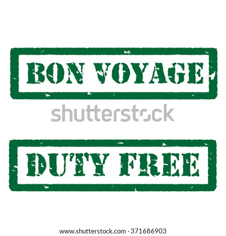 Vector illustration green bon voyage and duty free grunge rubber stamps on white - stock vector