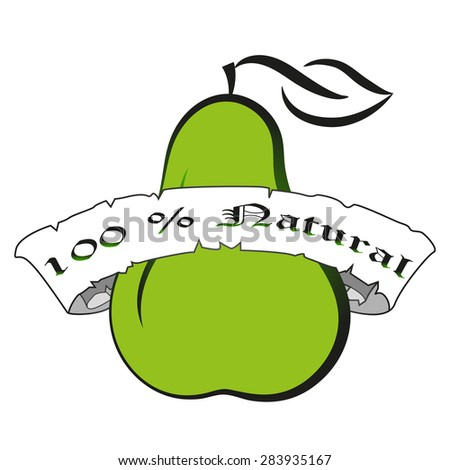Vector illustration green pear silhouette.Natural product fresh food calligraphic lettering label badge - stock vector