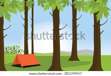 Vector illustration green sunny summer forest landscape and camping tent. Forest background. Orange tent at campsite - stock vector