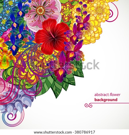 Vector illustration greeting card beauty and fashion. Background with flowers and leaves. Zentangl, doodling. Adult coloring books. - stock vector