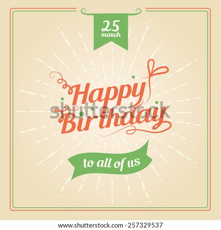 Vector illustration. Greeting card Happy Birthday. Editable. - stock vector