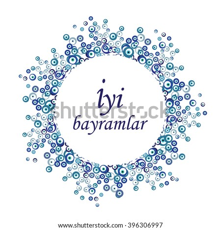 vector illustration / greeting design with iyi bayramlar phrase which means happy holiday in turkish language - stock vector