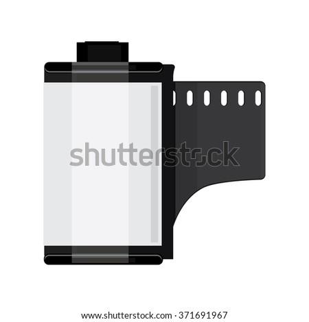 Vector illustration grey camera film roll. Photo film flat icon - stock vector