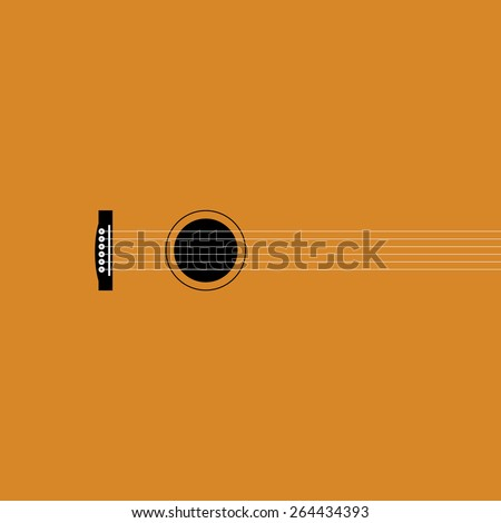 vector illustration. Guitar in the creative execution - stock vector