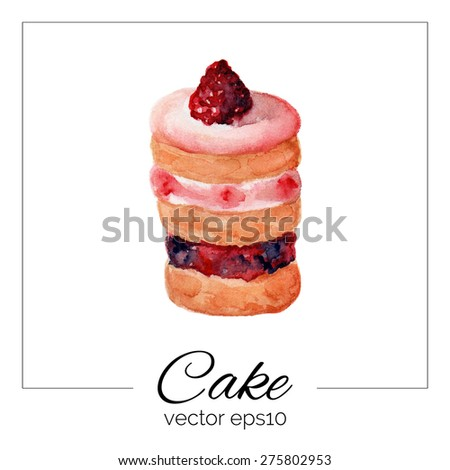 Vector illustration. Hand drawn cake with watercolor texture. Cake with cream, jelly, raspberries. Hand painted sweet cake on white background. Eps10.  - stock vector