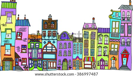 Vector illustration Hand drawn line drawings of various whimsical houses and buildings with bright colors - stock vector