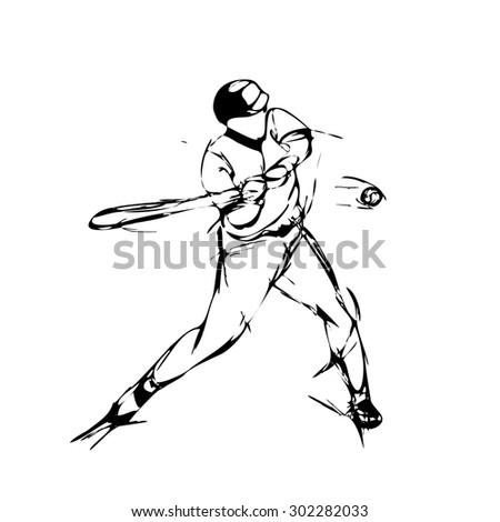 Vector illustration, hand graphics - Baseball Player - stock vector