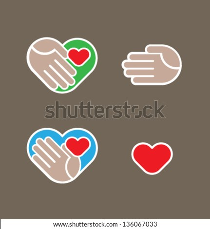 Vector illustration. Hand, heart - stock vector