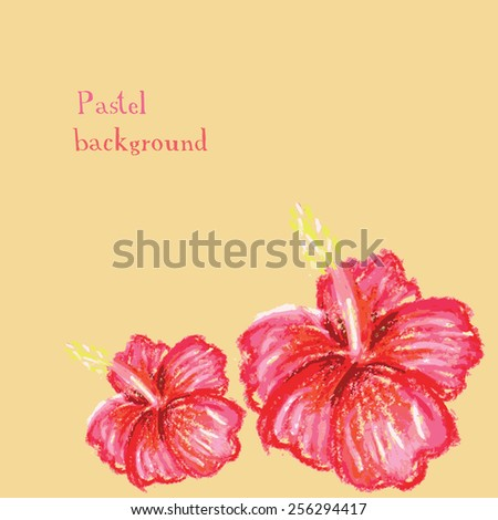 Vector illustration handmade drawing pastel chalks  hibiscus background - stock vector