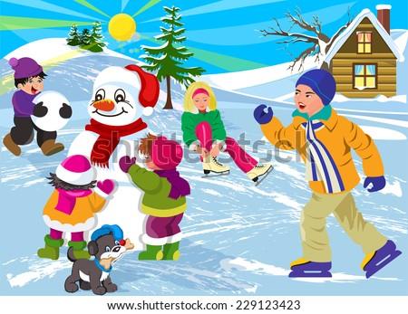 Vector illustration Happy Kids in Winter Season - stock vector