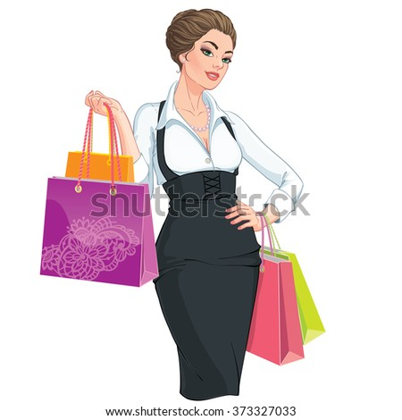 Vector Illustration. Happy young woman with shopping bags. Isolated on white background - stock vector