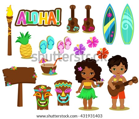 Vector illustration Hawaiian Collection. - stock vector