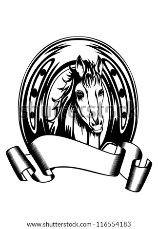 Vector  illustration head horse in horse shoe - stock vector