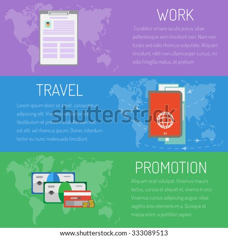 Vector illustration header work and travel, maney and practice, set - stock vector