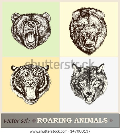 Vector illustration: heads of roaring animals  - stock vector