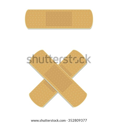Vector illustration health care panel. Crossed medical plaster. Adhesive bandage - stock vector