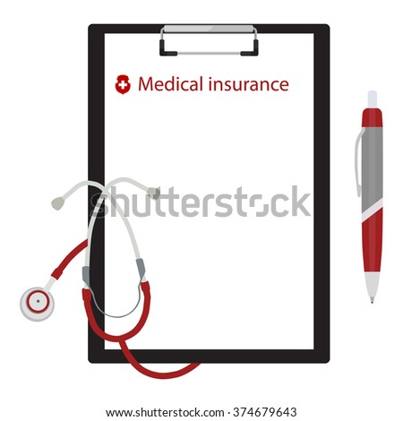 Vector illustration health, medical insurance concept design. Clipboard and stethoscope. - stock vector