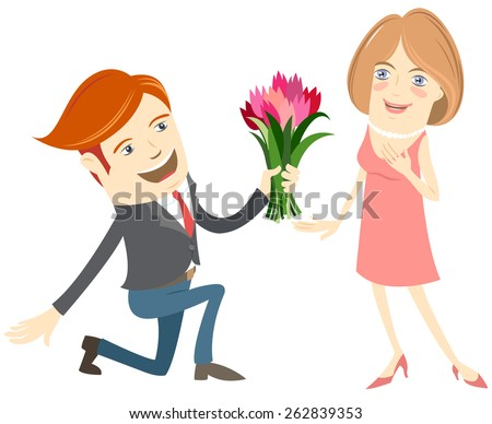 Vector illustration Hipster funny man kneeling giving flowers to the smiling woman. Flat style - stock vector