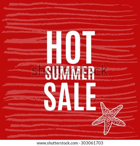 Vector illustration hot summer sale grunge label. - stock vector