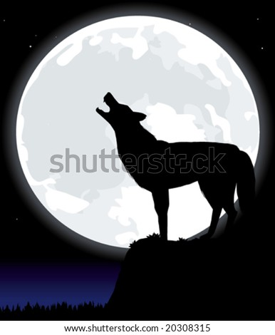 Vector illustration howling wolf under the moon. Only global colors. CMYK. Easy color changes. - stock vector