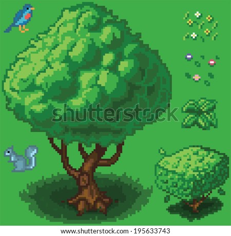 Vector illustration icon set of a tree, shrub, a squirrel, a bird, a small plant, and flowers created in a video game pixel art style. Separated into layers for easy editing. - stock vector