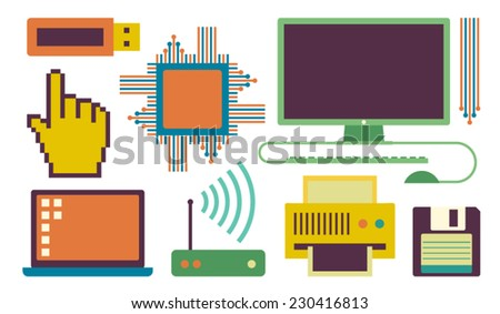 Vector illustration icon set of computer: CPU, laptop, hand, router, printer, disk - stock vector