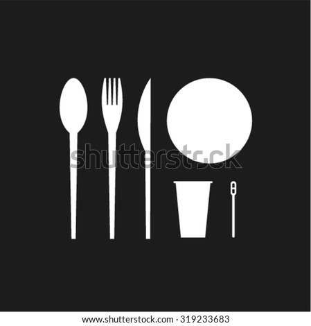 Vector illustration icon set of disposable tableware - stock vector