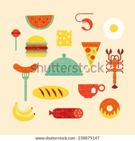 Vector illustration icon set of food: candy, watermelon, cheese, shrimp, egg, hamburger, pizza, cancer, sausage, bread, tea, banana, cake - stock vector