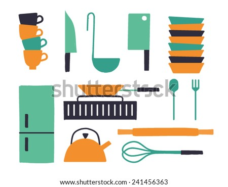 Vector illustration icon set of kitchen: mug, knife, ladle, ax, plate, refrigerator, stove, frying pan, kettle, spoon, fork, rolling pin, mixer - stock vector