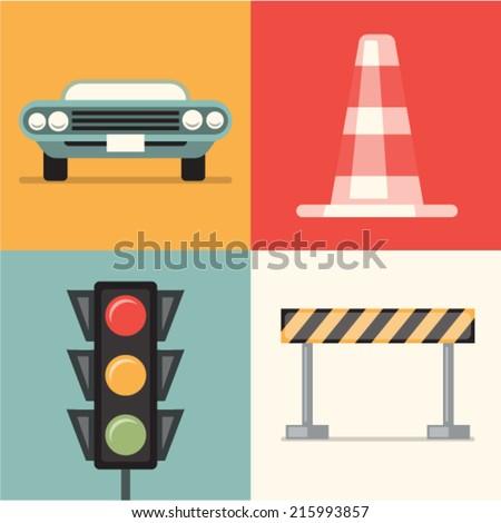 Vector illustration icon set of road: car, cone, traffic lights, repair - stock vector