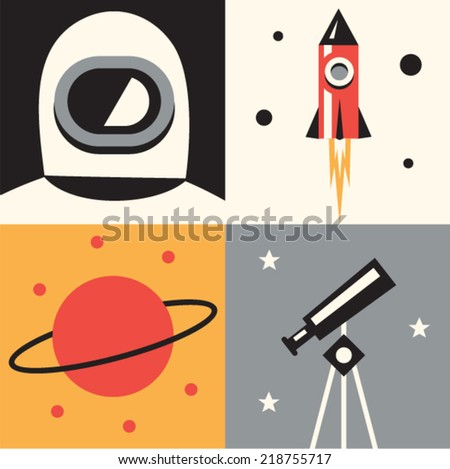 Vector illustration icon set of space: astronaut, rocket, planet, telescope - stock vector