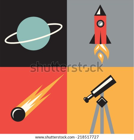 Vector illustration icon set of space: planet, telescope, asteroid, rocket - stock vector