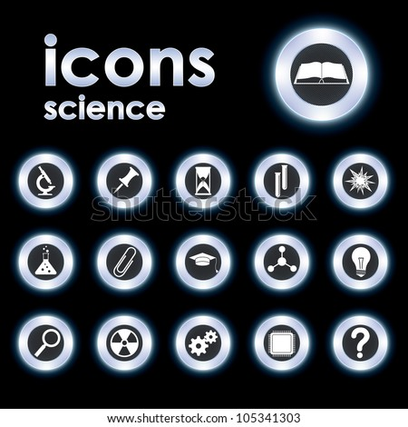 Vector illustration icons on science - stock vector