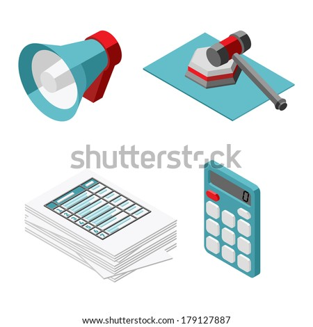 vector illustration icons set of auction - stock vector