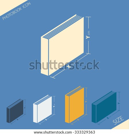 Vector illustration. Icons. Set of different formats of photobooks - stock vector