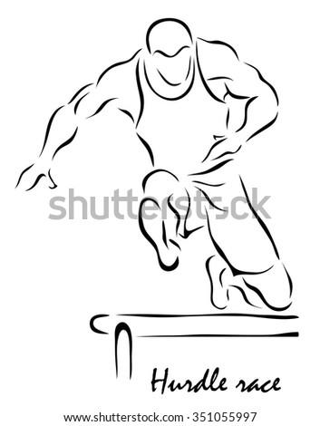 Vector illustration. Illustration shows a kind of sport. Hurdle race - stock vector