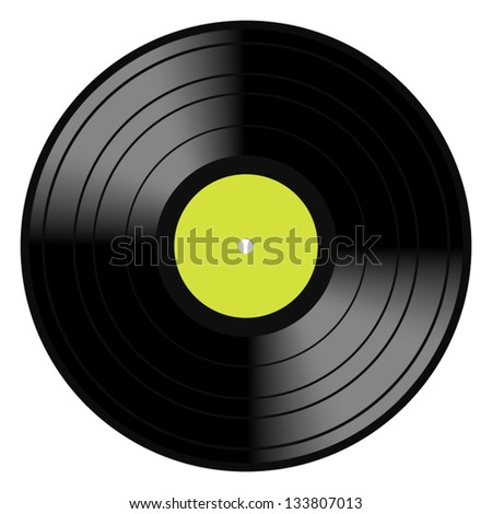 Vector illustration image of a vintage and analog 33 RPM LP vinyl disc record with blank green central label for your music copy, eps 8 with gradient mesh. Isolated on white. - stock vector