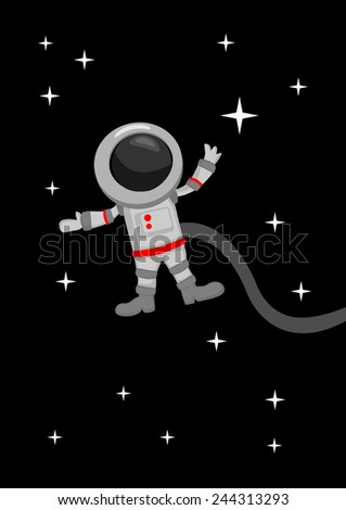 Vector illustration in cartoon style of astronaut floating weightless in outer space - stock vector
