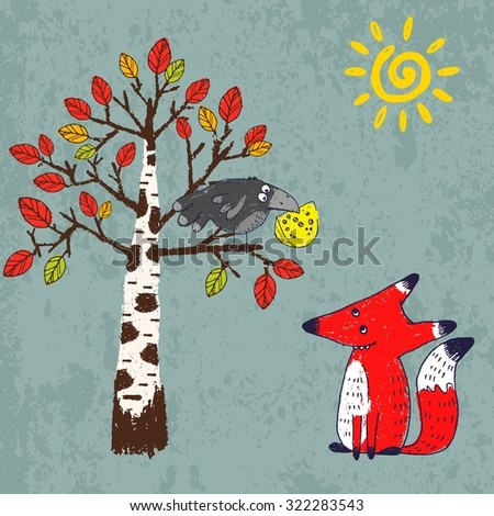 "Vector illustration in comic style for Aesop's fable ""The Fox and the Crow"". Crayon drawn cartoon picture of crafty red fox and silly black crow with a piece of cheese in its beak - stock vector"