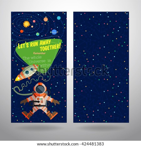 Vector illustration in flat style about outer space. Planets in the universe. Greeting card - stock vector
