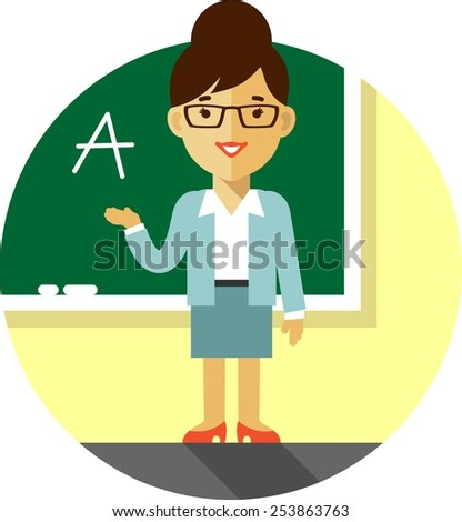 Vector illustration in flat style with woman teacher character in front of blackboard - stock vector