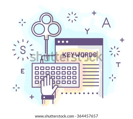 Vector illustration in modern flat style. Selection of keywords, filling the metadata, the software, the content of the site. - stock vector