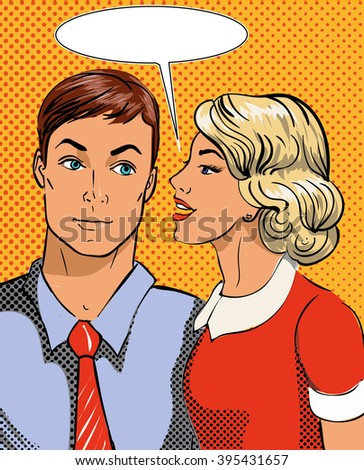 Vector illustration in pop art style. Woman telling secret to man. Retro comic. Gossip and rumors talks. - stock vector