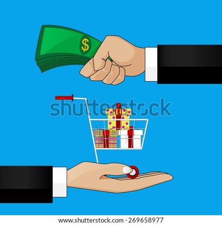 vector illustration in retro style, hand giving money to other hand - stock vector