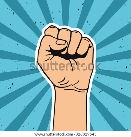 Vector illustration in retro style of clenched fist held high in protest. Comics art. - stock vector