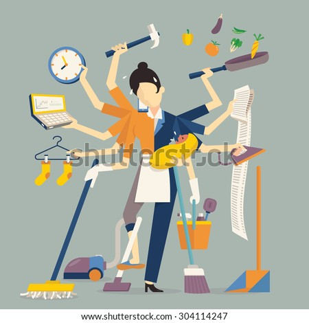 Vector illustration in super mom concept, many hands working with very busy business and housework part, feeding baby, cleaning house, cooking, doing washing, working with laptop. Flat design.    - stock vector