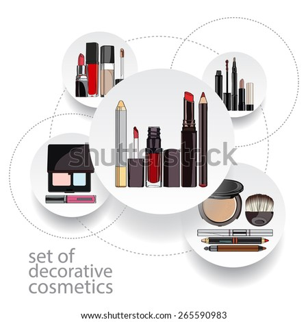 vector illustration in the form of infographics for decorative cosmetics. - stock vector