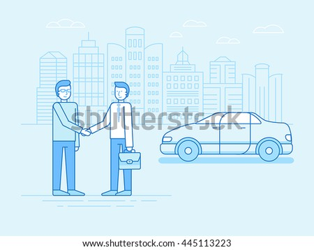 Vector illustration in trendy linear flat style and blue colors - car sharing concept - new model of car rental service - collaborative consumption and sharing economy - stock vector